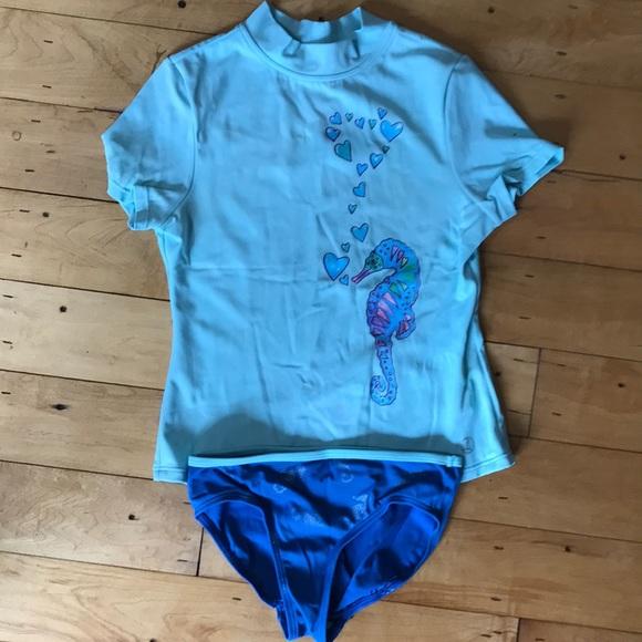 LANDS/' END Boys/' XL Tree Frog Long Sleeve Graphic Rashguard Swim Shirt NWT